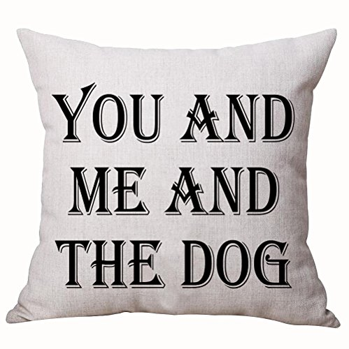 Designer Dog Pillow (Best Dog Lover Gifts Nordic Simple Warm Sweet Funny Sayings You And Me And The Dog Cotton Linen Decorative Home Office Throw Pillow Case Cushion Cover Square 20 X 20 Inches)