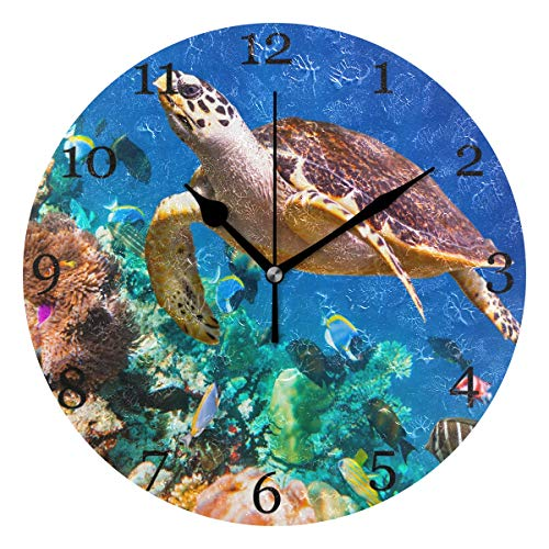 KUWT Ocean Tropical Fish Turtle Wall Clock Silent Non-Ticking 9.5 Inch Round Clock Acrylic Art Painting Home Office School ()