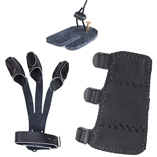AMYIPO-Cowskin-3-Finger-Protective-Glove-Arm-Guard-Eagle-Claw-Finger-Tab-Durable-Cow-Leather-Archery-Protector-for-Recurve-Bows-Hunting-Finger-Arm-Hand-Protector-Black-More-Choice