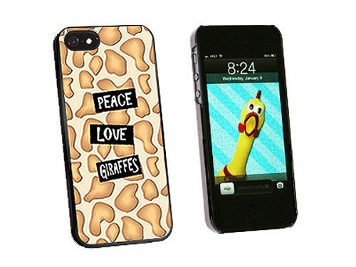 Graphics and More Peace Love Giraffes Snap-On Hard Protective Case for iPhone 5/5s - Non-Retail Packaging - Black