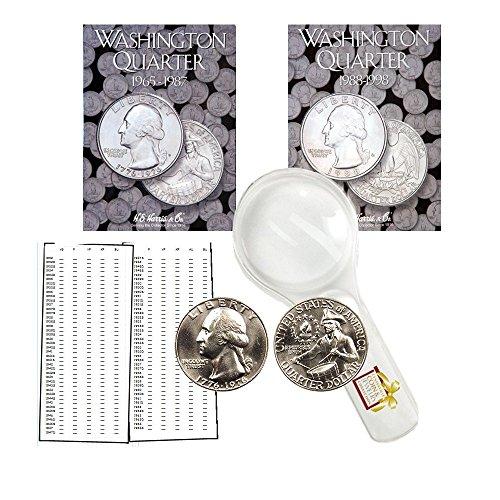 Washington Quarter Starter Collection Kit, Part Two, H.E. Harris [2690] Washington Quarter Folder Vol. 3, [2691] Folder Vol. 4, 1776-1976 P & D Bicentennial Quarters, Magnifier & Checklist, (6 Items)