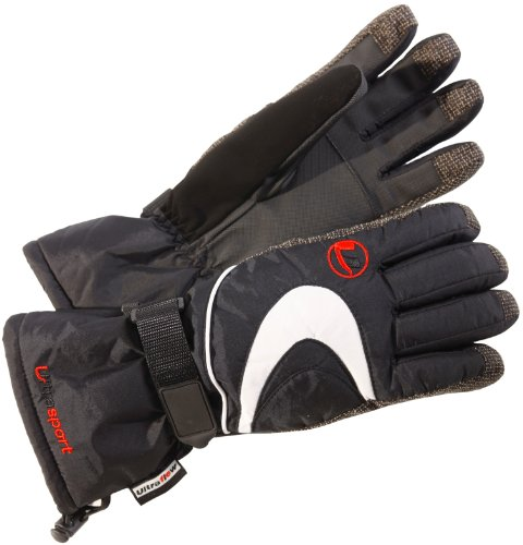 Ultrasport Damen Skihandschuhe mit Touchscreen Funktion, schwarz, L, 46602