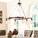 Brushed Nickel Chandelier Centerpiece With Bulbs For Dining Rooms | 29″ Light Fixture Provides Multidirectional Lighting | Rustic Pendant Lamp With Industrial Accents Creates Modern Farmhouse Feel For Sale