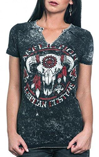 (Affliction Women's Tatanka Short Sleeve T-shirt S Black)