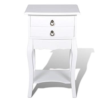 mesa auxiliar mesita de noche 2 cajones blanco amazones hogar - Mesilla De Noche Blanca