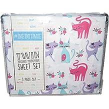 #Bedtime Meow Cat Print Pink Purple Girl TWIN 3 Pc Sheet Set