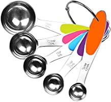 Fsdifly-Stainless Steel Measuring Spoons 5 Piece Stackable Set - Measuring Set for Cooking and Bakin