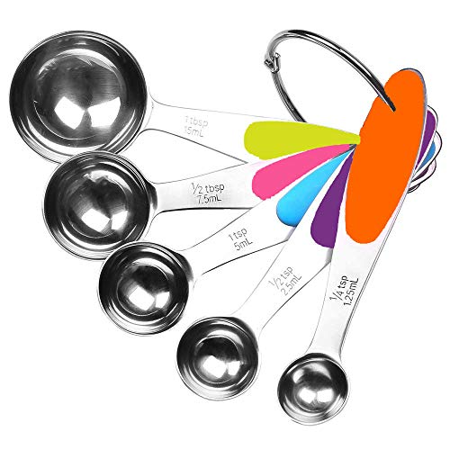 Fsdifly-Stainless Steel Measuring Spoons 5 Piece Stackable Set - Measuring Set for Cooking and Bakin (Measuring Steel Steel Spoons Stainless)