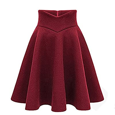 CoutureBridal Women Wool Skater Winter Midi Skirt A Line Swing Knee Length Circle Skirts