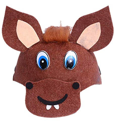Bear boys Cartoon Adult/Children's Creative Stereoscopic Mardi Gras Party Costume Christmas/Thanksgiving Animal Novelty Dress Hat (Horse) -