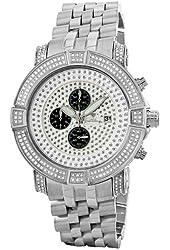 "JBW Men's JB-6115-569-C ""Gotham"" Chronograph 5.70 Carat Silver Pave Diamond Watch"
