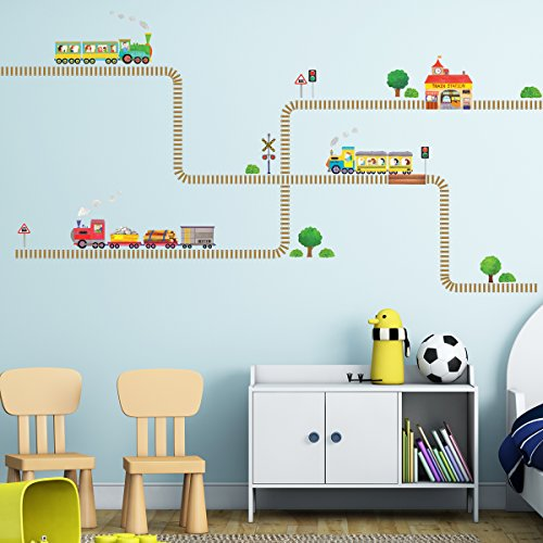Decowall DW-1504 Trains and Tracks Kids Wall Decals Wall Stickers Peel and Stick Removable Wall Stickers for Kids Nursery Bedroom Living Room