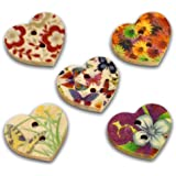 Pack of 25 Mixed Multicolour Flower Print 2 Holes Heart Wooden Buttons, for Sewing, Scrapbooking, Embelishments, Crafts, Jewellery making, shabby chic, Knitting, 17x15mm