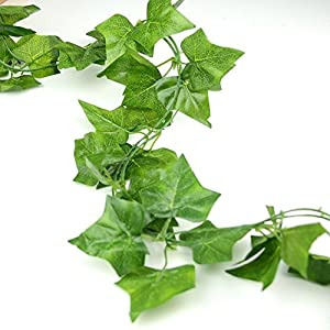 LEFV Trade; Ivy Garland 6 Feet Long Artificial Fake Vine Plant Leaves English Ivy Silk Greenery Chain Wedding Party Supplies Garlands Home Garden Wall Decoration Sweet Potato Leaf 26