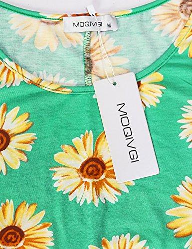 Green Flowy Sundress A MOQIVGI T line Pockets Shirt Sunflower with Women's Summer Casual Sleeveless Dress vvg6BqH