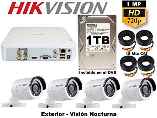 Kit Circuito Cerrado Hikvision Video Vigilancia 4 Cámaras Bullet Hd 720p Cctv 1 Tb