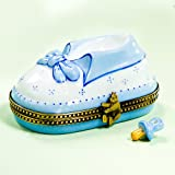 Limoges French Authentic Blue Baby Shoe Box with Pacifier.