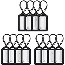 MIFFLIN Luggage Tags (Black, 12 Pack), Suitcase Tag, Bag Tag for Luggage