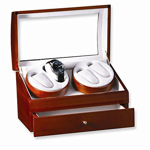 Jewelry Best Seller Light Oak Finish High Gloss Finish 2-Turntable Quadruple Watch Winder - Oak Turntable