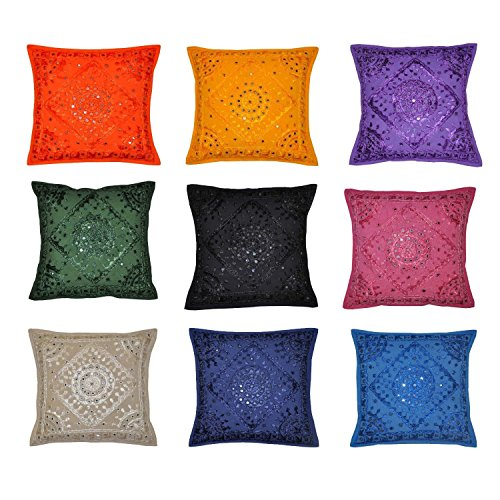 (Labhanshi Indian Decor Handmade Mirror Embroidered Ethnic Cotton Cushion Cover Pillow Covers, 16 X 16 Inches, 10 Pcs Lot)