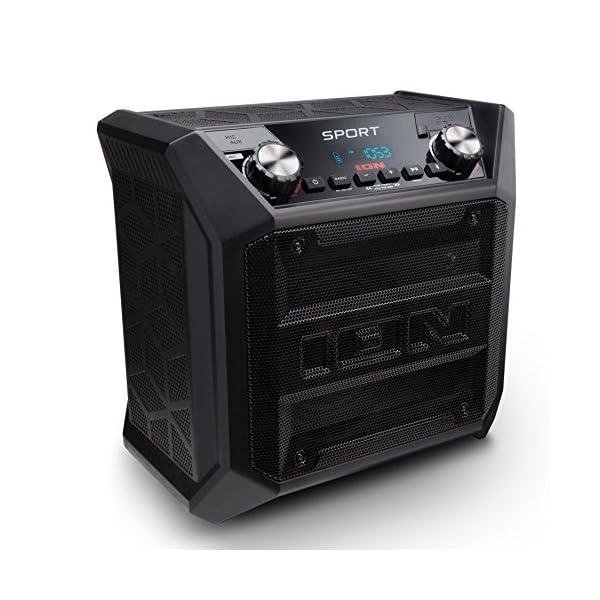 ION Audio Sport - Enceinte 50 W Résistant à l'Eau, avec Batterie Rechargeable Longue Durée, Étanchéité IPX4, Bluetooth, Port USB de Charge, Entrée Aux et Microphone Haute-Définition 1