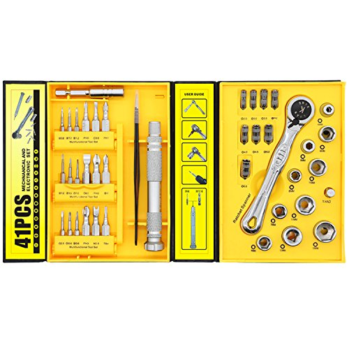 Ratchet Wrench Screwdriver Set, Metric Socket Sets + Micro Screw Driver Mini Bits - Hex Nut Driver, Tripoint, Philips, Star, Torx, Flat Head Screw Driver Bit (41 IN -