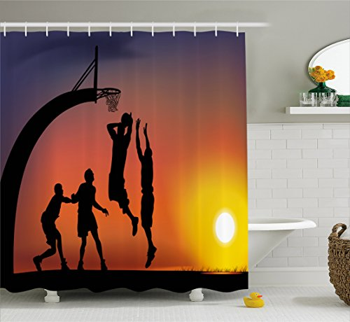 Ambesonne Teen Room Decor Shower Curtain, Boys Playing Basketball at Sunset Horizon Sky Dramatic Scene, Fabric Bathroom Decor Set with Hooks, 75 Inches Long, Dark Coral Black Yellow - College Basketball Rug
