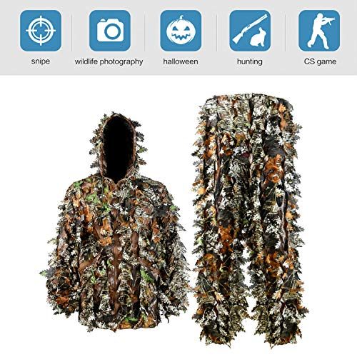 Zicac Outdoor Camo Ghillie Suit 3D Leafy Camouflage Lightweight Clothing Jungle Woodland Turkey Hunting Apparel