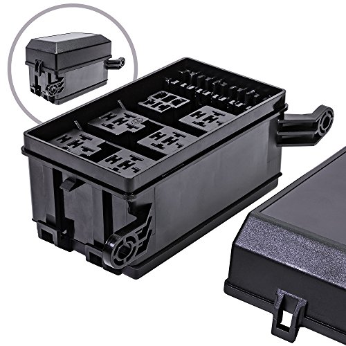 OLS 12-Slot Relay Box [6 Relays] [6 Blade Fuses] [Bosch Style Relays] [Easy Installation] [OEM Factory Look] - Fuse Relay Box for Automotive and Marine - Starter Bosch Relay