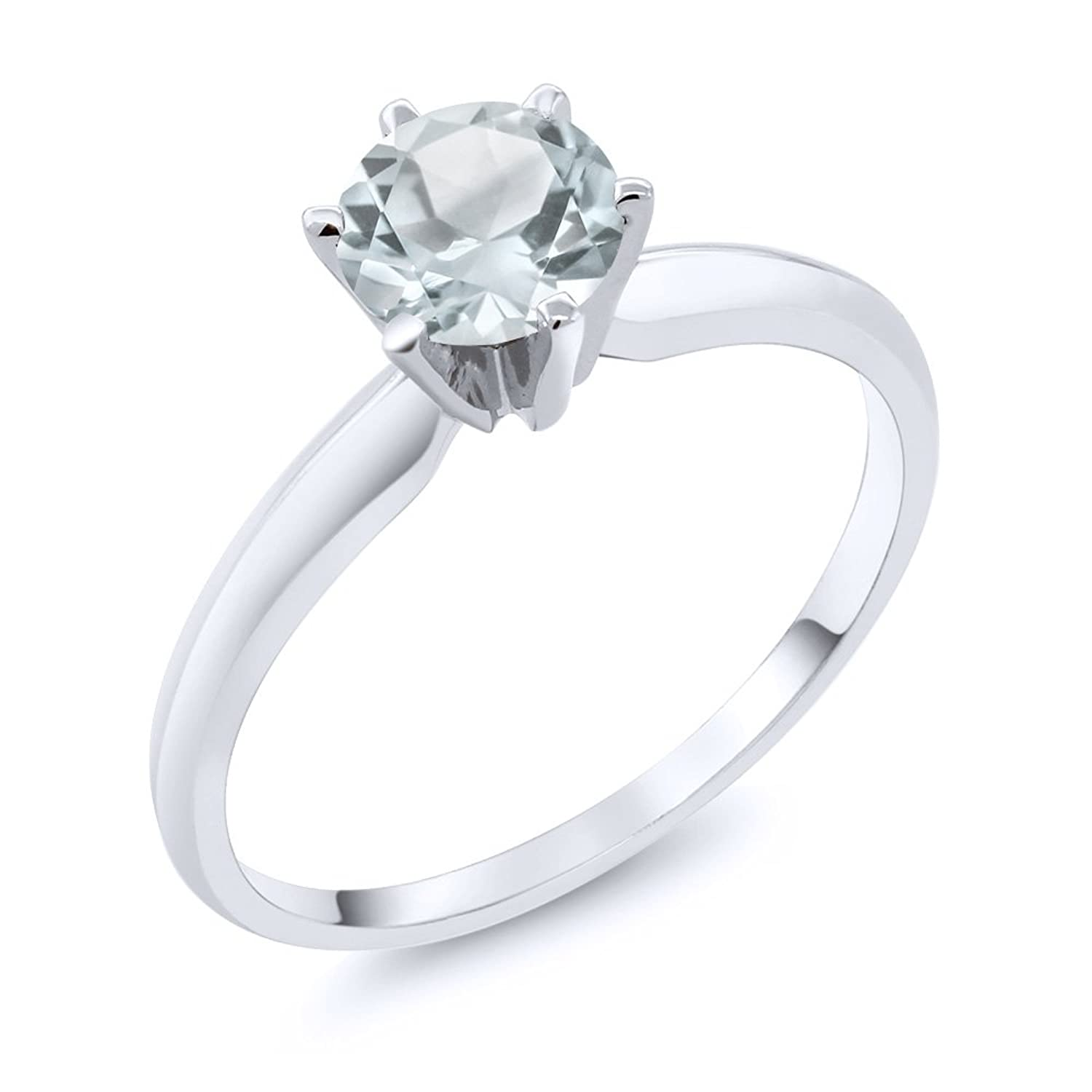 0.75 Ct Sky Blue Aquamarine 14K White Gold Engagement Solitaire Ring (Available in size 5, 6, 7, 8, 9)