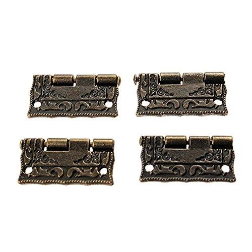 4pcs 1inch Antique Wooden Gift Box Hinge Zinc Alloy Cabinet Furniture Door Drawer Jewellery Box Hinge ()