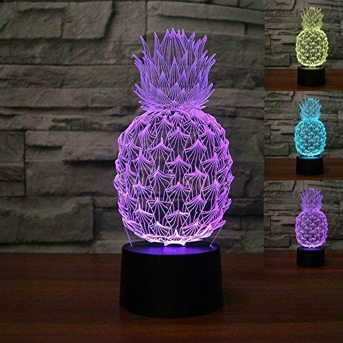 Jinson well 3d Piña lámpara de mesa luz nocturna cambio de 7 colores LED luz de noche para Decor Regalo