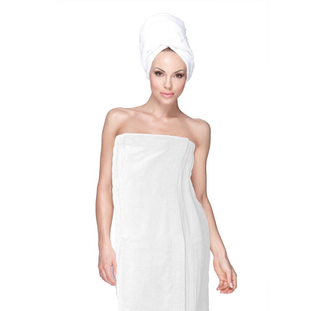 baeec5d81f Amazon.com  HOME   LOUNGE Spa Bath Shower Wrap for Women Robe Gyms 100% Cotton  Terry Velour (White)  Home   Kitchen