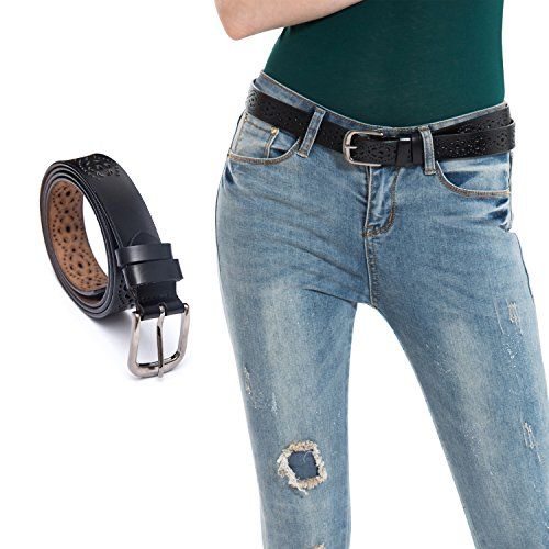 HBY Women's Hollow Flower Genuine Cowhide Leather Belt With Alloy Buckle (Cowhide Buckle)