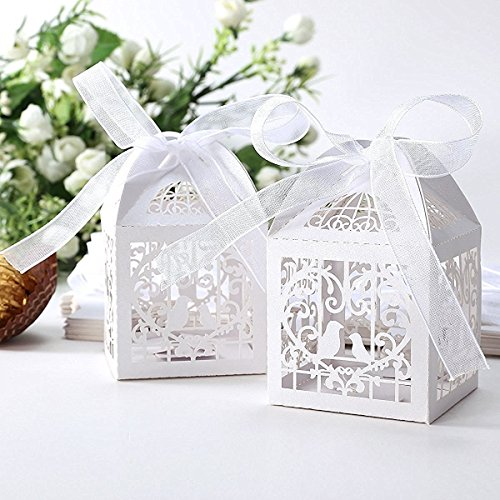 50pcs Laser Cut Bird Favor Boxes,2''x2''x2'' Candy Boxes with 50 Ribbons for Party Wedding (Wedding Favors Table Decorations)