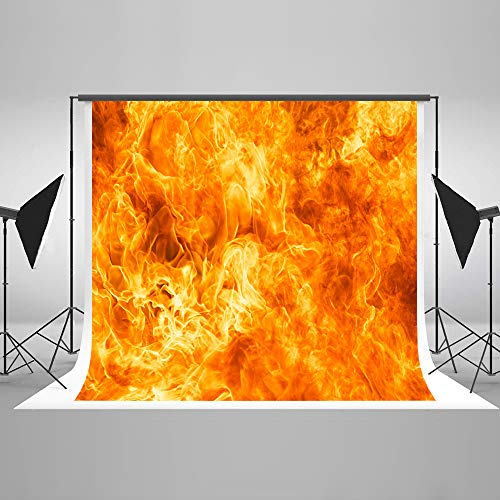 Kate 10x6.5ft Halloween Backdrops Dancing Flame Fire Backdrops Abstract Portrait Background Golden Yellow Muslin Backdrop Photography Props ()