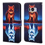 EnjoyCase Wallet Case for Galaxy S8,Colorful Fox Pattern Pu Leather Bookstyle Card Slots Magnetic Flip Cover With Hand Strap for Samsung Galaxy S8