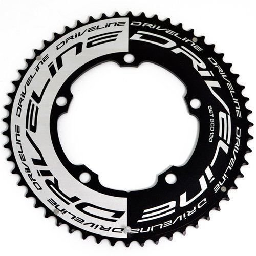 Driveline AL7075 Road Bike Bicycle TT Chainring 56T, BCD 130mm, Black x White #ST1351