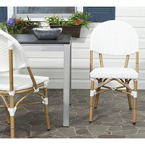 Safavieh FOX5203C-SET2 Home Collection Barrow Indoor/Outdoor Stacking Side Chair, Set of 2, Off-White ()