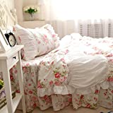 Swanlake Shabby Roses Beautiful Lace and Ruffle Pleated Duvet Cover Bedding Set 1403 (Queen)