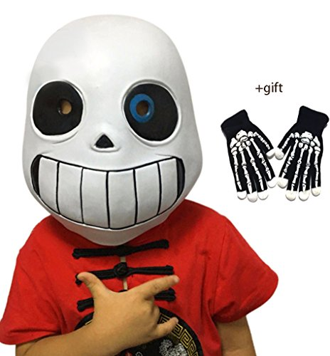 Sans Undertale Costume (Deluxe Latex Full Head Hood Masque Halloween Adult and Kid's Costume Accessory (Child))