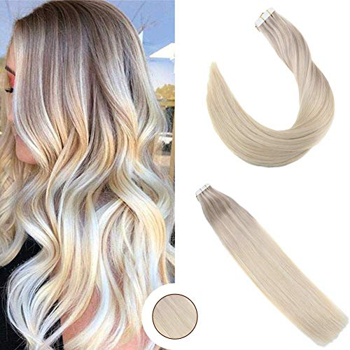 (Ugeat 16 Inch Tape in Remy Hair Extensions Balayage Color #18 Ash Blonde #22 Medium Brown #60 Platinum Blonde Double Sided Tape Hair Extensions 20 PCS Skin Weft Human Hair 50 Grams)
