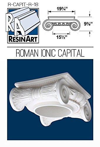 Roman Ionic Capital for Hollow Column - XXXL Size - Composite Resin - Unfinished - Paint Ready - Load Bearing - Dimensions In Images/Details by Resinart East, Inc