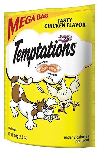 TEMPTATIONS Tasty Treats Saveur de poulet pour les chats, Pochettes 6,3 onces (paquet de 10)