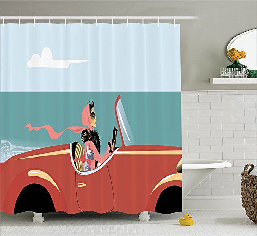 [Cars Decor Collection Funk Illustration of A Young Sexy Lady Driving Retro Auto on the Road with Her Dog by the Sea Polyester Fabric Bathroom Shower Curtain Red Blue] (Shell Soon See Her Feet)