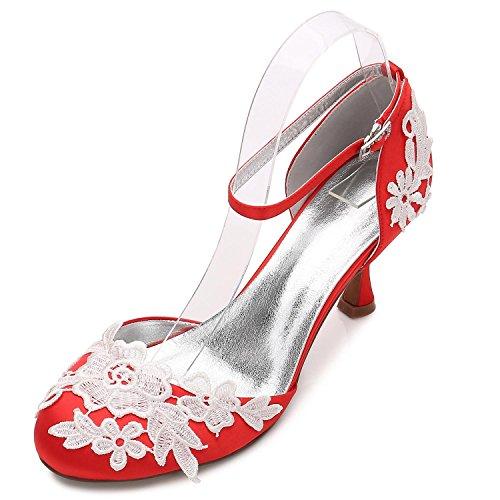 Près D'Honneur Chaussures Demoiselle Mariage Corsage Boucle Pour 7 high D17061 red shoes Bas Fleur Elegant Talon de des Femmes à Satin Orteils qUvzE