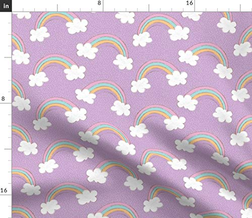 (Spoonflower Rainbows and Clouds On Purple Fabric - in Sunshine Rainbow Rainy Days Sunny Day Unicorns Pastel Print on Fabric by The Yard - Chiffon for Sewing Fashion Apparel Dresses Home Decor)