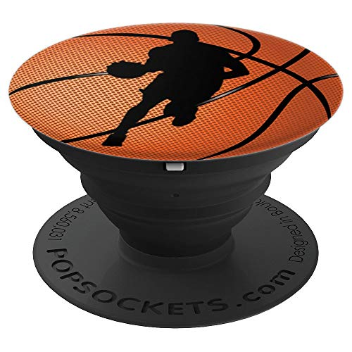Basketball Player Dribbling Ball Silhouette Gift for Boys - PopSockets Grip and Stand for Phones and Tablets