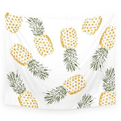 Price comparison product image Pineapple Tapestry Wall Hangings Wall Blanket Art Dorm Shawl Beach Towel Throw Tapestry Decor Bedspread Bedroom Living Kids Girls Boys Room Dorm Accessories 51x59inchs (White-Yellow)