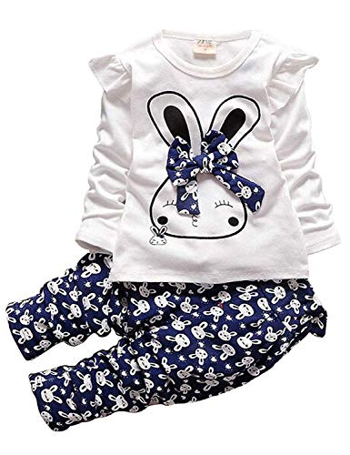 (Adorable Toddler Baby Girls Bunny Print Clothes Set Little Girls Clothing, Long Sleeve T-Shirt +Pants 2pcs Outfits (Age(5T), A-Navy)